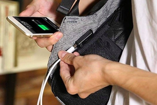 external USB port backpack